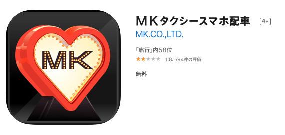アプリでタクシーの配車を依頼してみた-MKタクシースマホ配車